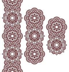 Mehndi indian henna brown tattoo long pattern vector