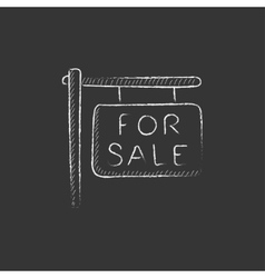 For sale placard drawn in chalk icon vector