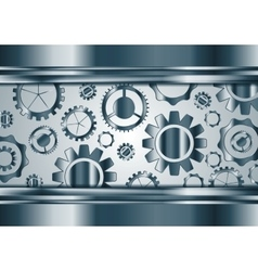 Blue chrome gears mechanism background vector