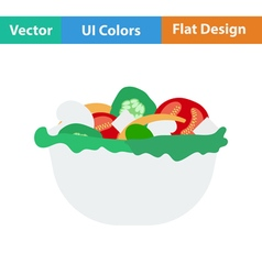 Flat design icon of salad in plate vector