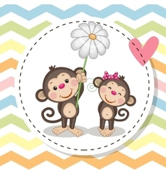 Greeting card with two Monkeys vector image