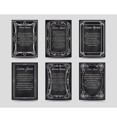 Black chalkboard cards with vintage frame vector