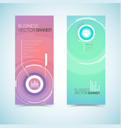 Business banners with digital technological vector