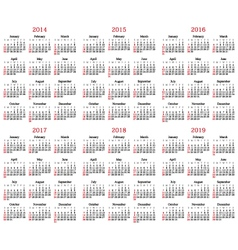 Calendar 2014-2019 vector