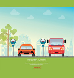 Car park with parking meter on city view vector