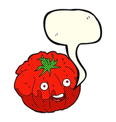Cartoon happy tomato with speech bubble vector