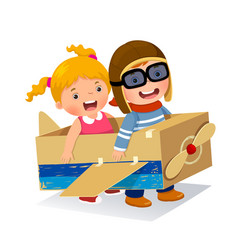 creative boy playing as a pilot with cardboard vector image