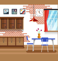Dining room with furniture in flat style vector image