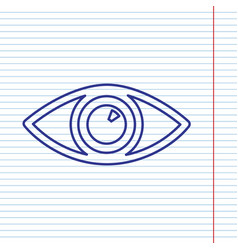 Eye sign navy line icon on vector