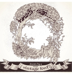 Fable forest hand drawn by a vintage font - Q vector image vector image