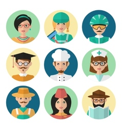 Faces Avatar Icons vector image vector image