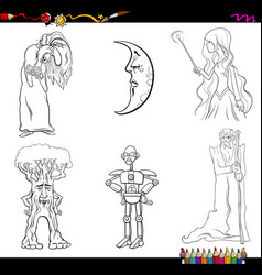 Fairy tale characters coloring page vector