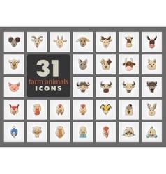 Farm animals icons set head vector