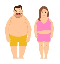 Fat exercising man and woman vector