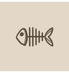 Fish skeleton sketch icon vector