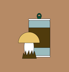 Flat icon design collection canned and mushroom vector