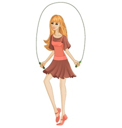 Girl jumping a rope vector image
