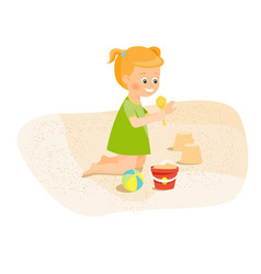 Girl playing with sand vector