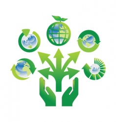 Hand holding recycle icons vector