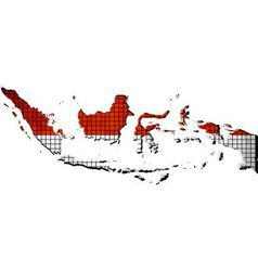 Indonesia map with flag inside vector