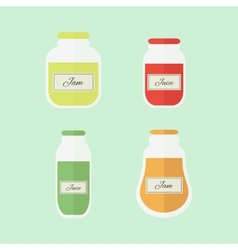 Jam and juice isolated flat elements vector image