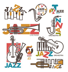 Jazz night or live music festival concert logo vector