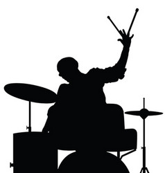 Man playing drumms silhouette in black color vector