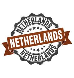 Netherlands round ribbon seal vector