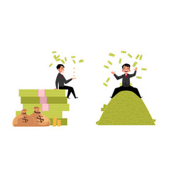 office worker lying on money pile set vector image