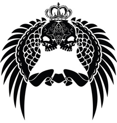 One color crown skull wings vector