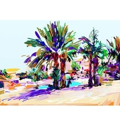 Original digital painting of cyprus colorful vector
