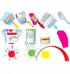 paint and tools vector image