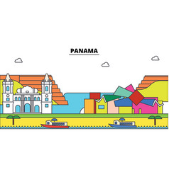 Panama outline city skyline linear vector