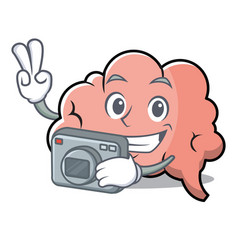 photography brain character cartoon mascot vector image vector image