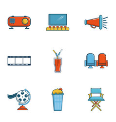 Private movie event icons set cartoon style vector