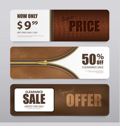 Realistic leather texture sale banners vector