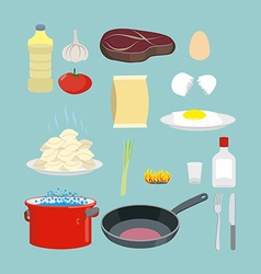 Set of kitchen utensils and food Pan and casserole vector image vector image