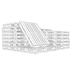 Set of pallets sketch vector