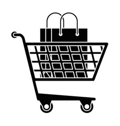 shopping cart with shopping bag vector image