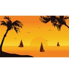 Silhouette of ship in seaside summer vector