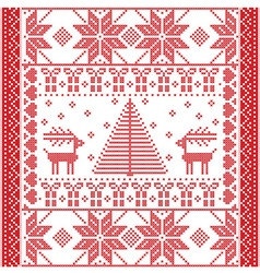 Square pattern with reindeers vector image