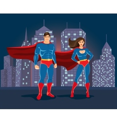 Superheroes on urban landscape backgound vector image