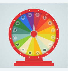 Wheel of fortune with business icons vector