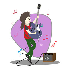 Young boy playing guitar happy love music vector