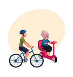 Young man riding bicycle and old woman driving vector
