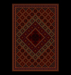 Rug with colored ornament in maroon and red shades vector