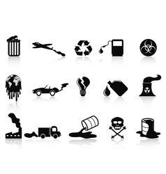 Black pollution icons set vector