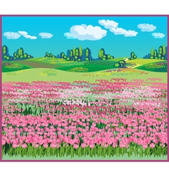 Picturesque landscape with tulips vector