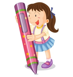 girl with pencil vector image