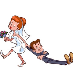 Angry bride drags the groom to get married vector image